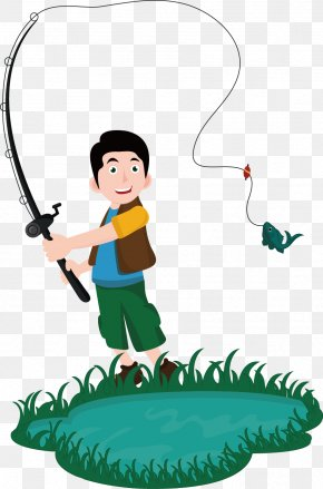Vector Painted Man Fishing Rod - Fishing Rod Euclidean Vector Drawing PNG