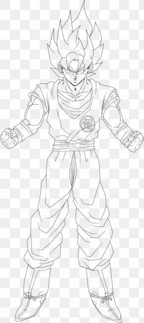 Goku Hair - Line Art Figure Drawing White Sketch PNG
