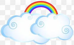 Rainbow With Clouds Transparent Clip Art Image - Rainbow Cloud Cartoon PNG