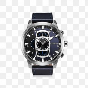 Leather Strap Pin Buckle Swiss Quartz Male Watch - Watch Strap Police Quartz Clock PNG