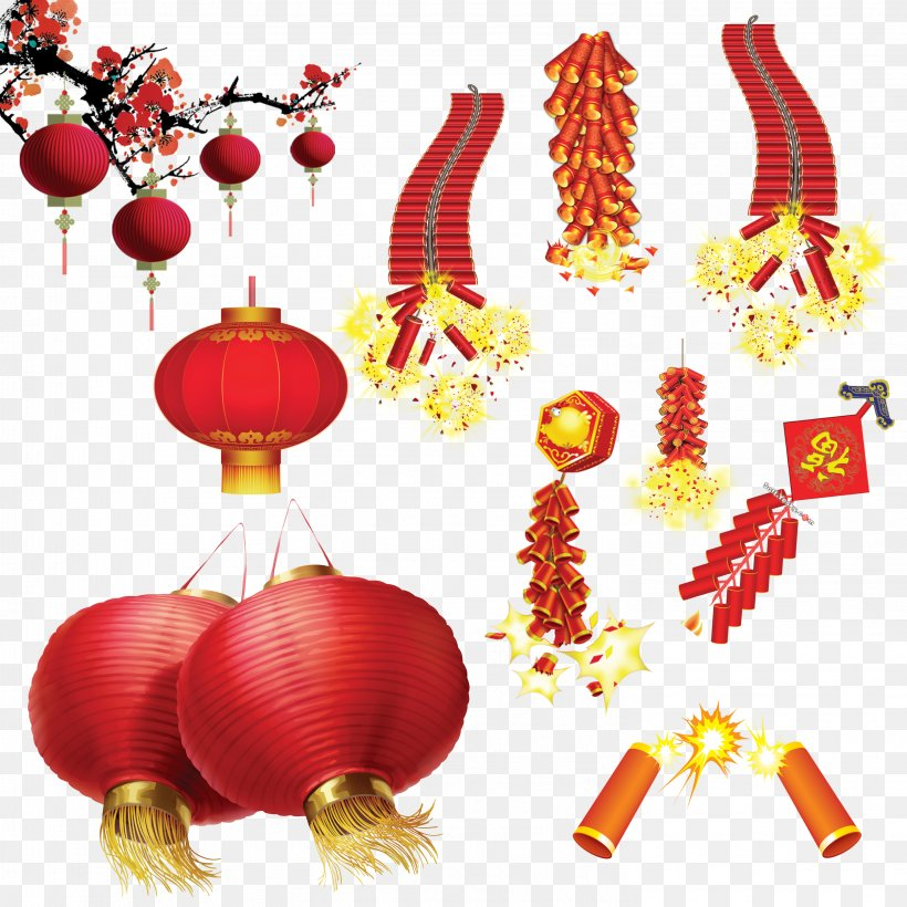 Lantern Festival Firecracker Chinese New Year, PNG, 2953x2953px, Lantern, Banner, Chinese New Year, Christmas Decoration, Christmas Ornament Download Free