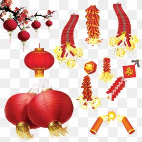 Chinese New Year Lantern - Lantern Festival Firecracker Chinese New Year PNG