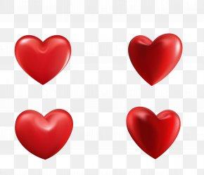 Vector Red Three-dimensional Peach Heart Four - Heart Three-dimensional Space Symbol Clip Art PNG