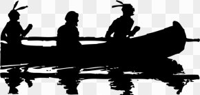 Free Native American Clipart - Silhouette Black And White Canoe Clip Art PNG