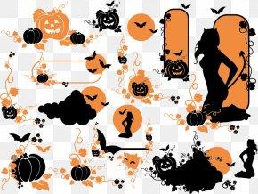 Creative Halloween Pumpkin - Halloween Pumpkin Ghost Silhouette Vine PNG