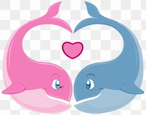 Valentine's Day Whales Couple PNG Clipart Image - Valentine's Day Couple Heart Clip Art PNG
