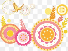 Cute Pink Decorative Circle Flower Pattern Vector - Euclidean Vector Circle PNG