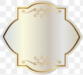 White Label With Gold Decorations Clipart Image - Label Sticker Clip Art PNG
