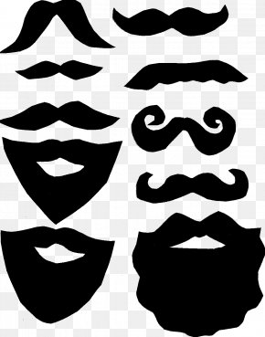 Beard And Moustache - Moustache Lip Beard Template Clip Art PNG