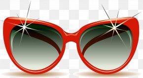 Red Border Sunglasses - Sunglasses Beach Summer Clip Art PNG