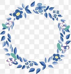 Vector Hand-painted Blue Flower Garlands - Leaf Blue Flower PNG