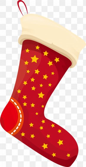 Yellow Star Socks - Christmas Stocking Sock Clip Art PNG
