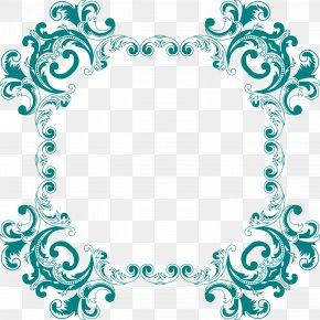 Aqua Frame - Flower Floral Design Clip Art PNG