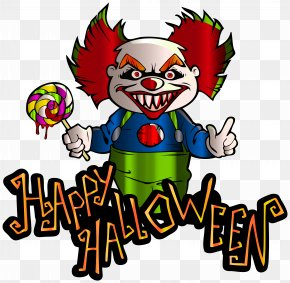Happy Halloween With Clown Clipart Image - It Halloween Evil Clown Clip Art PNG