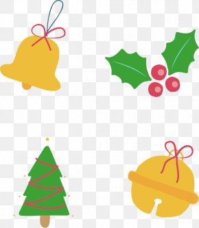 Four Yellow Bell Decoration - Christmas Tree Clip Art PNG