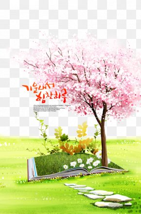 Cherry Blossoms In Full Bloom - Download Poster Computer File PNG