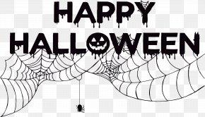 Spider Net Halloween Art Word - Halloween Card Shutterstock Clip Art PNG