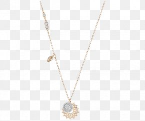 Swarovski Jewelry Women Gold Flower Necklace - Necklace Pendant Chain Body Piercing Jewellery PNG