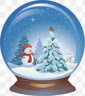 Blue Christmas Snowman Crystal Ball - Santa Claus Christmas Snowman Illustration PNG