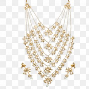 Half Dollar Jewellery - Necklace Earring Jewellery Gold Kundan PNG