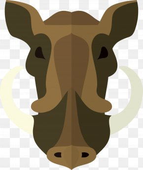 Simple Wild Boar With Coffee Color - Common Warthog Christmas Ornament Ceramic Pattern PNG