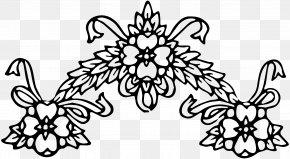 Floral Wreath - Flower Black And White Floral Design Clip Art PNG