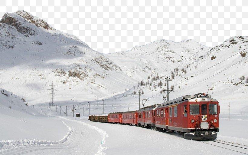 Bernina Railway Train Rail Transport Steam Locomotive Wallpaper, PNG, 820x512px, Bernina Railway, Alps, Computer, Desktop Computer, Desktop Environment Download Free