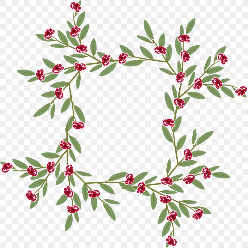 Holly Euclidean Vector, PNG, 2945x2945px, Flower, Aquifoliaceae, Aquifoliales, Branch, Christmas Download Free