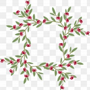 Red Border Of Little Wild Flowers - Holly Euclidean Vector PNG