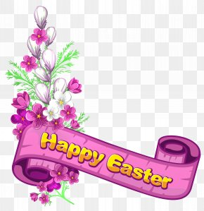 Pink Happy Easter Banner And Flowers - Easter Banner Clip Art PNG