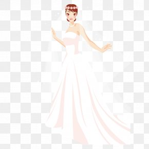 Bride Wear A Wedding Dress With A Wreath - Wedding Dress Bride Gown Formal Wear Pattern PNG