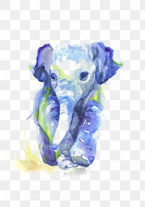 Watercolor Elephant - Watercolor Painting Drawing Infant Sketch PNG