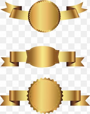 Vector Hand Painted Gold Label - Gold PNG