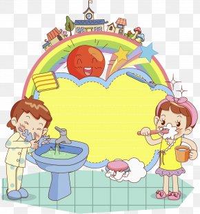 Children Brushing Their Teeth - Tooth Brushing Clip Art PNG