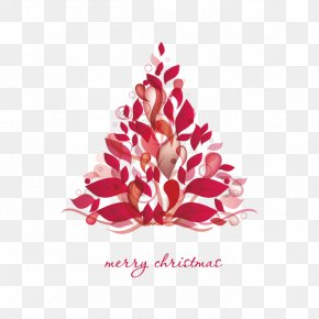 Creative Christmas Tree Shape Leaves - Christmas Tree Christmas Card PNG