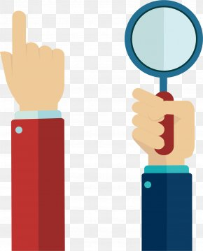 Click The Magnifying Glass Finger - Finger Hand Flat Design PNG
