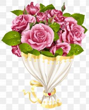 Rose Bouquet With Heart Transparent Clip Art Image - Flower Clip Art PNG