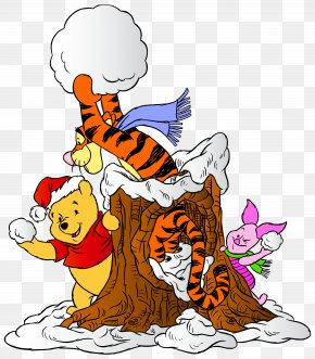 Winnie The Pooh And Friends With Snowballs Clip Art Image - Piglet Winnie The Pooh Winnie-the-Pooh Eeyore Tigger PNG