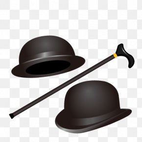 Gentleman Hat And Cane - Bowler Hat Stock Photography Top Hat PNG