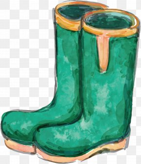 Green Boots Vector - Watercolor Painting Garden Tool PNG