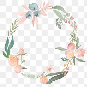 Floral Wreath - Watercolor Painting Flower Wreath Photography Clip Art PNG