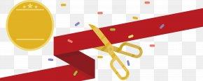 Golden Stripe Scissors Ribbon Cutting Ceremony - Scissors Cutting Ribbon PNG