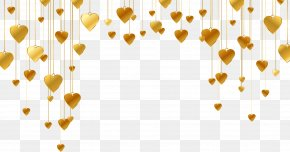 Gold Heart-shaped Pattern - Heart Shape Line PNG