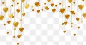 Gold Heart-shaped Pattern - Heart Shape Line PNG