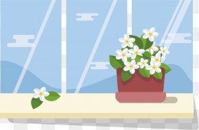 Jasmine On The Window Sill - Window Flowerpot Euclidean Vector Icon PNG