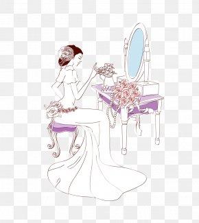 Dressing Bride - Bride Wedding Illustration PNG