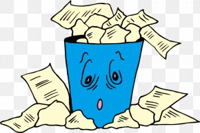 Cartoon Blue Trash Can Vector - Paper Waste Container Clip Art PNG