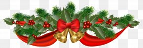 Christmas Golden Bells And Ribbon Clipart Image - Christmas Ribbon Jingle Bell Clip Art PNG