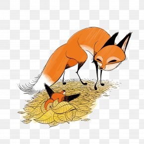 Vector Fox Mother And Son - Red Fox Drawing Illustration PNG