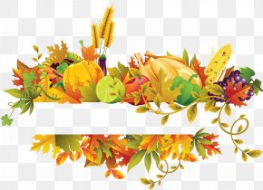 Fall Flowers Fruit Border - Thanksgiving Clip Art PNG